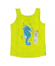 Okie Dokie Lemon/Turq Tank Tee Wt Dragon Fish Print