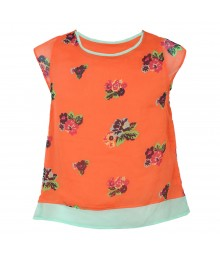 Red Camel Coral Floral Chiffon Hi-Lo Top Big Girl