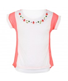 One Step Up 2-Pc White Embellished Top Wt Neon Pink Chiffon