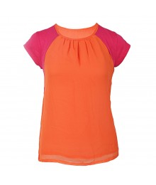Red Camel Pink/Orange Chiffon/Knit Girls Blouse Big Girl