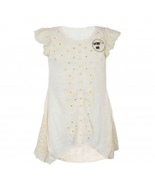 Beautees Ivory Embroidery Top Wt Lace Assymetrical Top