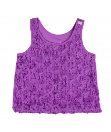 Justice Purple Rosette Tan Top