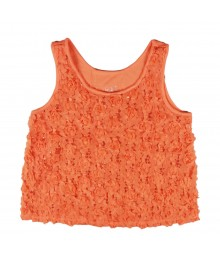 Justice Orange Rosette Tan Top