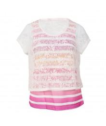 Belle Du Jour White/Multi Crochet Overlay Strip Girls Top