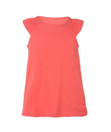 J Khaki Pink With Studded U-Neck Flutter Sleeve Girls Top