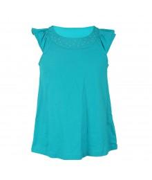 J Khaki Turq With Studded U-Neck Flutter Sleeve Girls Top