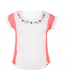 One Step Up White/Pink With Studs Chiffon Girls Top