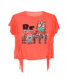 "Belle Du Jour Coral ""Be Happy""  Wt Fringe Girls Tee"