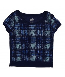 Justice Navy Lace Overlay Plaid Tee Blouse