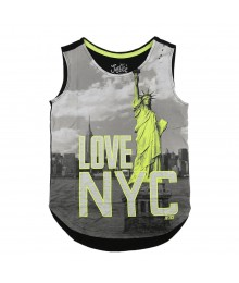 Justice Grey/Black Girls Tees Wt Neon Yellow Nyc Print