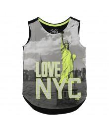 Justice Grey/Black Girls Tees Wt Neon Yellow Nyc Print