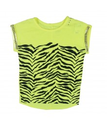 Justice Neon Yellow Top W Zebra Print N Seqd Turn Up Sleeve Little Girl