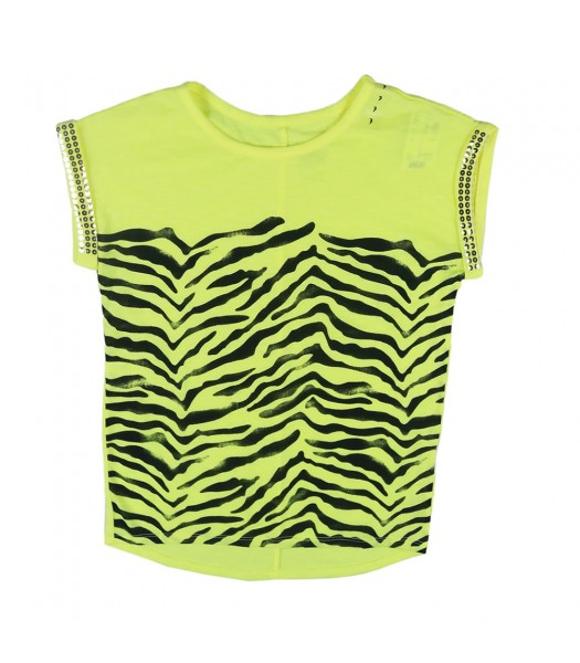 Justice Neon Yellow Top W Zebra Print N Seqd Turn Up Sleeve