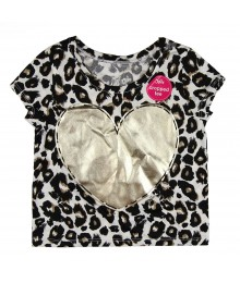 Justice Animal Print Cropped Tee with Gold Large Heart Shape