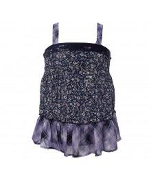 Justice Purple/Blue Floral N Plaid Seqd Smoked Tunic