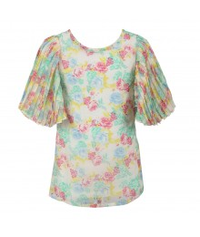 Little Maven Multi Floral Print Chiffon Top Wt Pleated Sleeve