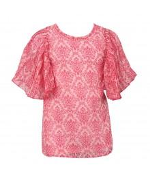 Little Maven Multi Floral Print Chiffon Top Wt Pleated Sleeve