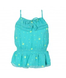 Total Girl Green/Aqua Chiffon Spagh Top  Big Girl