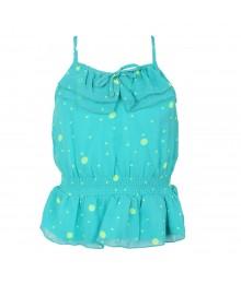 Total Girl Green/Aqua Chiffon Spagh Top