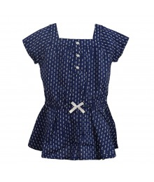 Carters Navy Wt White Bow Print U Neck Blouse