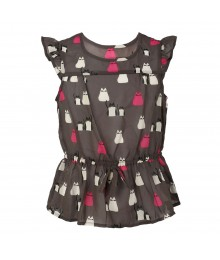 Total Girl Grey Chiffon Top Wt Pink N White Cats Print