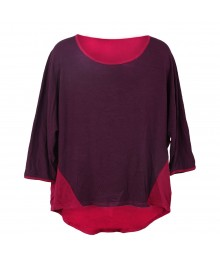 Joe Fresh Pink/Plum Hi-Lo 3/4 Sleeve Girls Tee