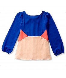 Gb Blue/Peach/Neon Pink Color Block Blouse Wt Back Bow Big Girl