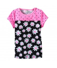Jumping Beans Pink Polka Wt Black Daisy Baby Doll Top