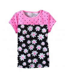 Jumping Beans Pink Polka Wt Black Daisy Baby Doll Top