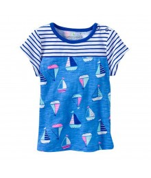 Jumping Beans Blue Stripped With Boat Print Baby Doll Top