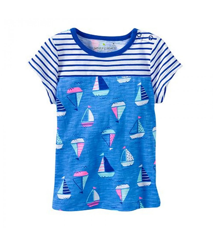 3b8028a6 Jumping Beans Blue Stripped With Boat Print Baby Doll Top