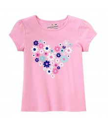 Jumping Beans Pink Flowred Heart Tee Little Girl