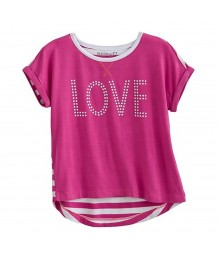 Design 365 Pink Hi-Low Heart Seq Tee