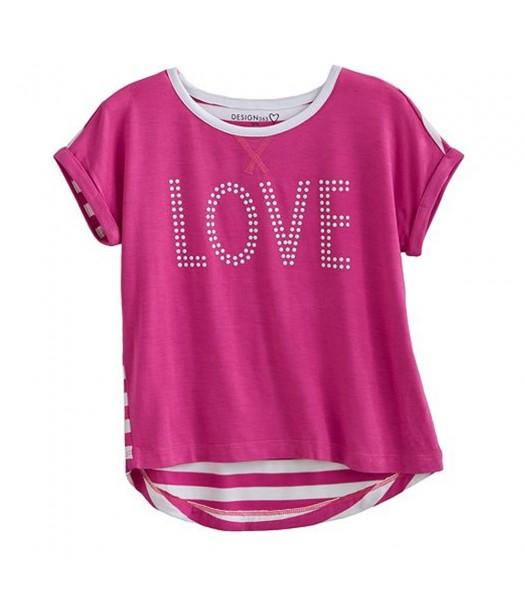 Design 365 Pink Hi-Low Heart Seq Tee
