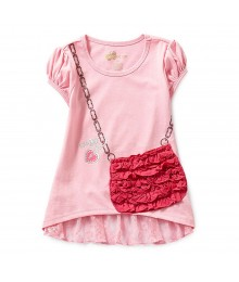 Copper Key Pink Purse Ruffle-Hem Top