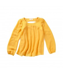 Gb Yellow/Mustard Quilted Stitch Blouse - Large