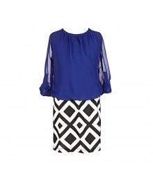Ruby Rox   Blue Chiffon Wt Black/White Skirted Dress