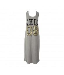City Street Grey Sleeveless Graphic Midi Dress
