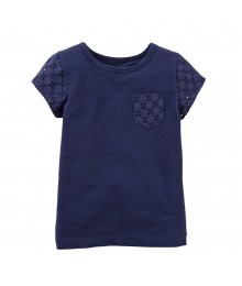 Carters Navy Tee Wt Eyelet Pocket N Sleeves Little Girl