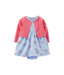 Carters Blue 2-Picece Dress Wt Pink Cardigan