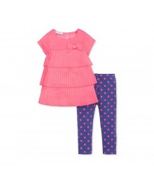 First Impressions Pink Pleated Top Wt Purple Dotted Leggings