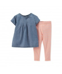 Carters Blue Denim Top N Orange Stripped  Leggings
