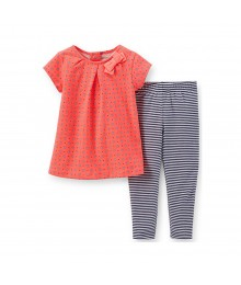 Carters Orange Neon Flared Top Wt Stripped Leggings Set
