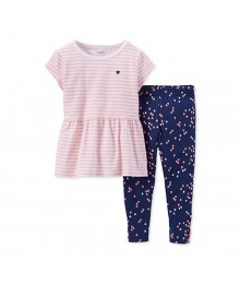 Carters Pink Stripped Top Wt Navy Heart Print Leggings