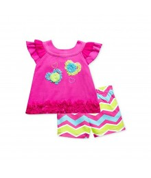 Baby Essentials Pink Ruffle Top Wt Zigzag Stripped Shorts Baby Girl