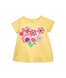 First Impressions Yellow Tee Wt Multi Flower Heart Tee