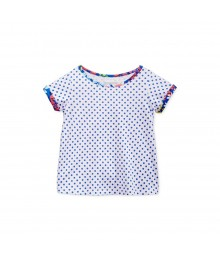 First Impressions White Wt Blue Dots N Floral Pippings Girls Tees Baby Girl