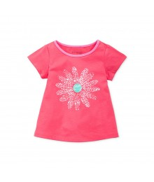 First Impressions Pink Girls Tees Wt Petals Print Baby Girl
