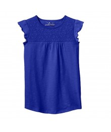 Jumping Beans Blue Tee Wt Lace Yoke Neck