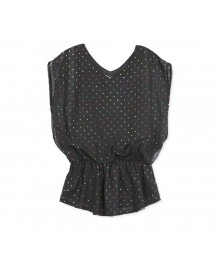 Speechless Black Chiffon Wt Multi Raindown Dots Top Big Girl